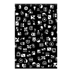 White On Black Abstract Symbols Shower Curtain 48  X 72  (small)  by FunnyCow