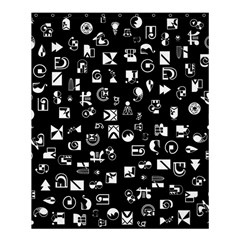 White On Black Abstract Symbols Shower Curtain 60  X 72  (medium)  by FunnyCow