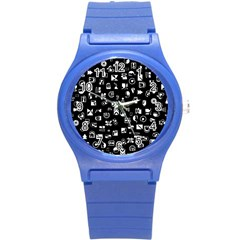 White On Black Abstract Symbols Round Plastic Sport Watch (s) by FunnyCow