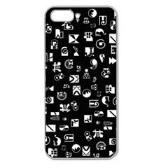 White On Black Abstract Symbols Apple Seamless Iphone 5 Case (clear) by FunnyCow