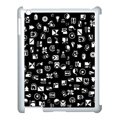 White On Black Abstract Symbols Apple Ipad 3/4 Case (white) by FunnyCow