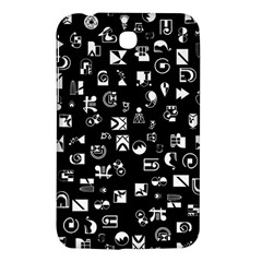 White On Black Abstract Symbols Samsung Galaxy Tab 3 (7 ) P3200 Hardshell Case  by FunnyCow