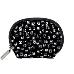 White On Black Abstract Symbols Accessory Pouch (small) by FunnyCow