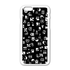 White On Black Abstract Symbols Apple Iphone 6/6s White Enamel Case by FunnyCow