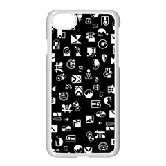 White On Black Abstract Symbols Apple Iphone 8 Seamless Case (white) by FunnyCow