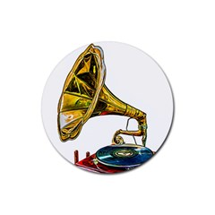Vintage Gramophone Rubber Coaster (round)  by FunnyCow
