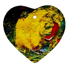 Yellow Chik Heart Ornament (two Sides) by bestdesignintheworld