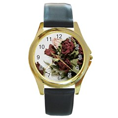 Roses 1802790 960 720 Round Gold Metal Watch by vintage2030