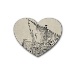 Ship 1515860 1280 Rubber Coaster (heart)  by vintage2030