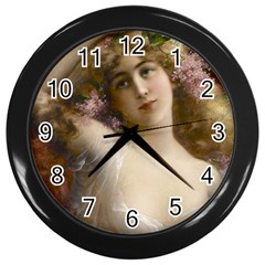 Victorian Lady In Pink Wall Clock (black) by vintage2030