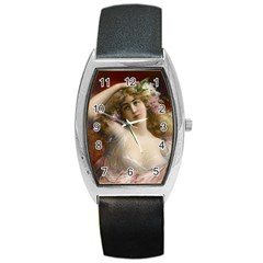 Victorian Lady In Pink Barrel Style Metal Watch by vintage2030