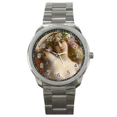 Victorian Lady In Pink Sport Metal Watch