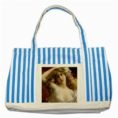 Victorian Lady In Pink Striped Blue Tote Bag by vintage2030