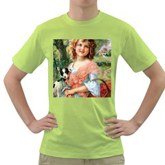 Girl With Dog Green T Shirt