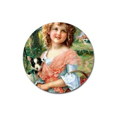 Girl With Dog Magnet 3  (round)