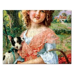 Girl With Dog Rectangular Jigsaw Puzzl by vintage2030