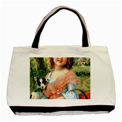 Girl With Dog Basic Tote Bag by vintage2030