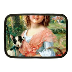 Girl With Dog Netbook Case (medium) by vintage2030