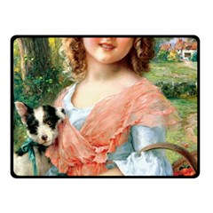 Girl With Dog Fleece Blanket (small) by vintage2030