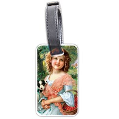 Girl With Dog Luggage Tags (one Side)  by vintage2030