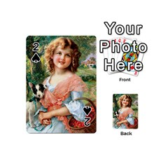 Girl With Dog Playing Cards 54 (mini)  by vintage2030