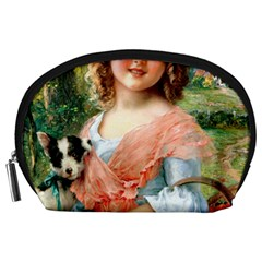 Girl With Dog Accessory Pouch (large) by vintage2030