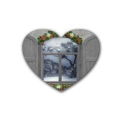 Winter 1660924 1920 Rubber Coaster (heart)  by vintage2030