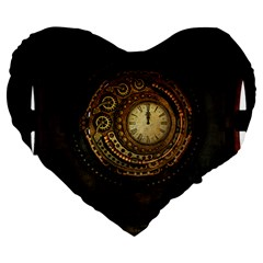 Steampunk 1636156 1920 Large 19  Premium Flano Heart Shape Cushions by vintage2030