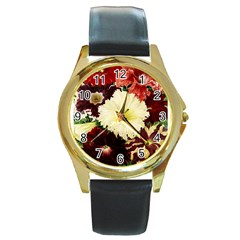 Flowers 1776585 1920 Round Gold Metal Watch by vintage2030