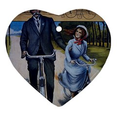 Couple On Bicycle Ornament (heart) by vintage2030