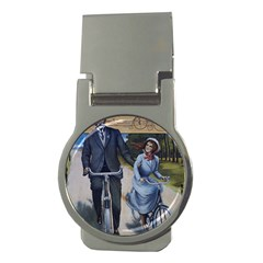 Couple On Bicycle Money Clips (round)  by vintage2030