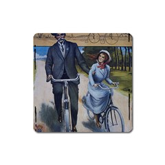 Couple On Bicycle Square Magnet by vintage2030