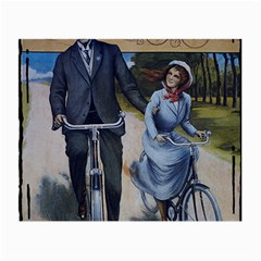 Couple On Bicycle Small Glasses Cloth (2 Side) by vintage2030