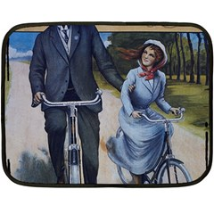 Couple On Bicycle Double Sided Fleece Blanket (mini)  by vintage2030