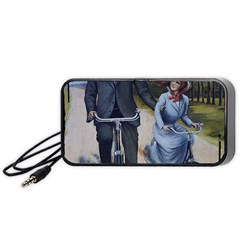 Couple On Bicycle Portable Speaker by vintage2030