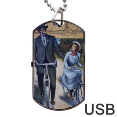 Couple On Bicycle Dog Tag Usb Flash (two Sides) by vintage2030