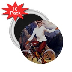 Woman On Bicycle 2 25  Magnets (10 Pack)  by vintage2030