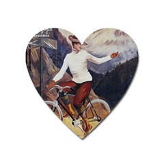 Woman On Bicycle Heart Magnet