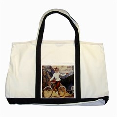 Woman On Bicycle Two Tone Tote Bag by vintage2030