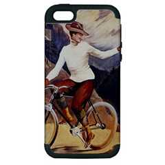 Woman On Bicycle Apple Iphone 5 Hardshell Case (pc+silicone) by vintage2030