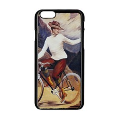 Woman On Bicycle Apple Iphone 6/6s Black Enamel Case by vintage2030