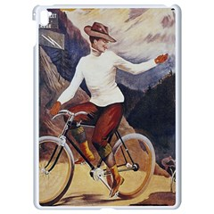 Woman On Bicycle Apple Ipad Pro 9 7   White Seamless Case by vintage2030