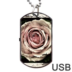 Vintage Rose Dog Tag Usb Flash (two Sides) by vintage2030
