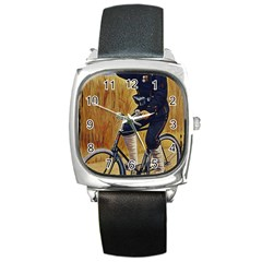 Policeman On Bicycle Square Metal Watch by vintage2030