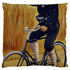 Policeman On Bicycle Large Cushion Case (one Side) by vintage2030