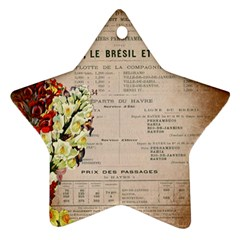 Letter Floral Star Ornament (two Sides) by vintage2030