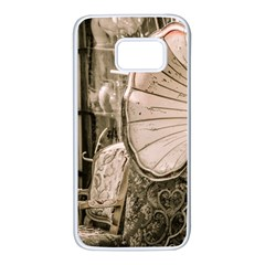 Flea Market Redord Player Samsung Galaxy S7 White Seamless Case by vintage2030