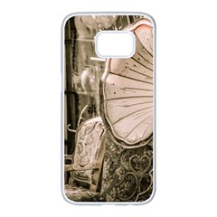 Flea Market Redord Player Samsung Galaxy S7 Edge White Seamless Case by vintage2030