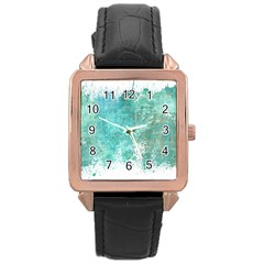 Splash Teal Rose Gold Leather Watch  by vintage2030