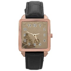 Camera Old Rose Gold Leather Watch  by vintage2030